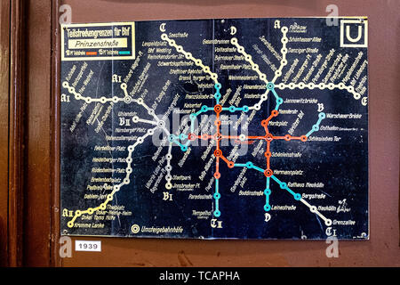 U-Bahn Museum Berlin. Transport museum in one of the former historic control rooms at the Olympia Stadium metro station. Old 1939 U-Bahn map The contr - Stock Image