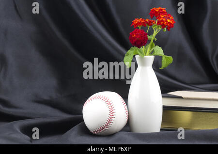 Baseball placed with books and red lantana in white vase reflect successful scholar athlete formula for educational achievement - Stock Image