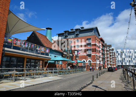 The Salthouse Harbour Hotel on Ipswich Waterfront, also known as Ipswich Wet Dock, Ipswich Docks, or Ipswich Marina, in the sunshine. Suffolk, UK - Stock Image