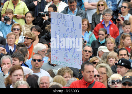 lNeil Horan protesting at Trooping the Colour taking place along The Mall, London, UK. Space for copy - Stock Image