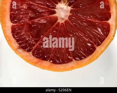 Inside of a grapefruit - Stock Image