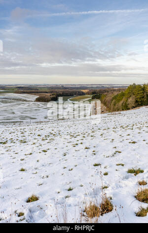 View from Cheesefoot Head on the South Downs Way across the landscape near Winchester during winter 2019, South Downs National Park, England, UK - Stock Image