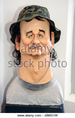 Miami Beach Florida Billy Murray sculpture artist David O'Keefe Bill Murray bust caricature - Stock Image