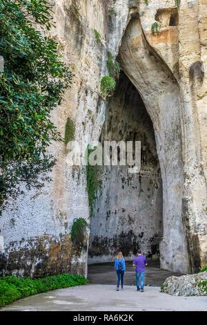 Orecchio Di Dionisio Cavern,Della Neapolis Archeological Park, Syracuse, Italy - Stock Image