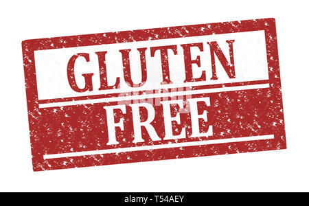 Rubber Stamp Gluten Free, text on white illustration - Stock Image