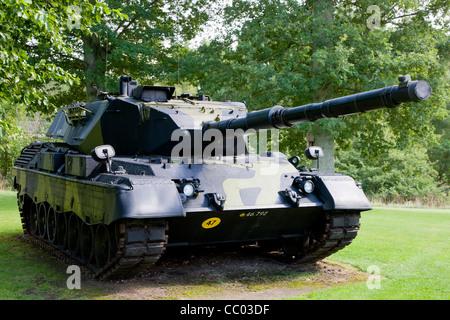 Old tank at the Danish UN Soldiers war memorial park at Rindsholm Inn near Viborg Denmark - Stock Image