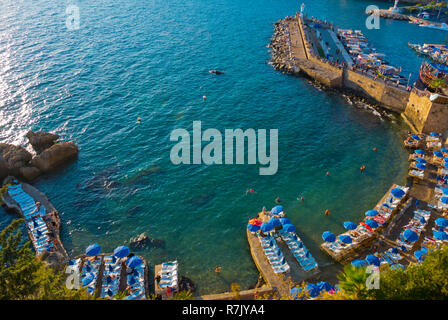 Mermerli Plaji, Mermerli beach, Kaleici Yat Limani, old town yacht harbour, Antalya, Turkey, Eurasia - Stock Image