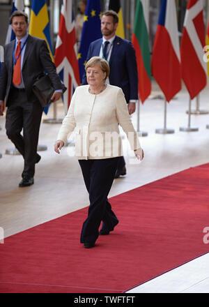 Brussels, Belgium. 20th June, 2019. German Chancellor Angela Merkel comes to an EU summit, on June 20, 2019, in Brussels, Belgium. Credit: Jakub Dospiva/CTK Photo/Alamy Live News - Stock Image