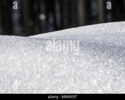 Close-up of snow crystals, Valley of Yach, Elzach, Black Forest, Baden-Württemberg, Germany - Stock Image