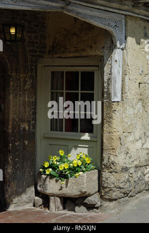 Doorway to an old stone built house with a stone planter filled with Spring flowers in the historic village of Lacock, Wiltshire, UK - Stock Image