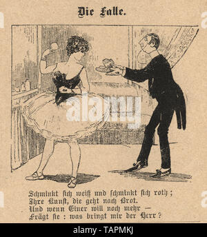 Victorian Cartoon of man offering a dancer a gift, the trap, 1880s, German - Stock Image