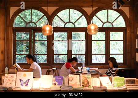 (190218) -- BEIJING, Feb. 18, 2019 (Xinhua) -- Tourists read books in a bookstore on the Guling Hill in Fuzhou, capital of southeast China's Fujian Province, July 8, 2018. Chinese readers, many of whom had switched to e-reading devices and online bookstores, are now flocking back to traditional stores as they are offering a wider range of new products.    The Bookdao New Publishing Institute, a consultancy to the country's publishing and book selling industry, surveyed 62 chains and found that some 65 percent plan to open more than five new stores this year, and 18 percent of them will open ov - Stock Image