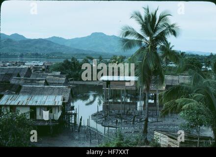 View upon a fishing village; area of Kota Kinabalu, Sabah, N Borneo, Malaysia. - Stock Image