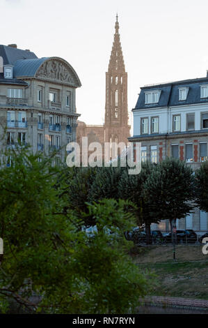 Strasbourg, Alsace, France, residential buildings, cathedral's spire, late afternoon light, - Stock Image