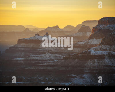 Spires and buttes of the Grand Canyon at Sunset. Grand Canyon National Park, Arizona. - Stock Image