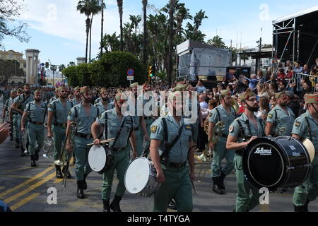 Malaga, Spain - April 18, 2019. Spanish legionnaires marching during an easter parade. - Stock Image