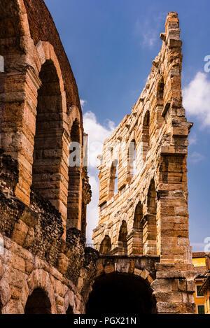 Roman amphitheatre perimeter at Piazza Bra in Verona, Italy - Stock Image