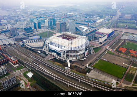 JANUARY 7, 2019, Amsterdam, Netherlands : Aerial Johan Cruyff Arena is the main stadium of AFC Ajax soccer club and Netherlands national football team - Stock Image