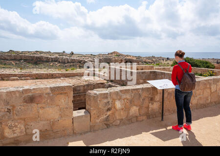 Ground-level of carved rock tomb in The Tombs of the Kings, Tombs of the Kings Avenue, Paphos (Pafos), Pafos District, Republic of Cyprus - Stock Image