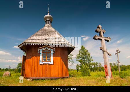 Little Eastern Orthodox Chapel In Open Air Folk Museum Skansen In Bialowieza, Poland - Stock Image
