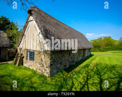 Exterior of Stang End a 17th century Cruck house  at the Ryedale Folk Museum in Hutton le Hole North Yorkshire England UK - Stock Image