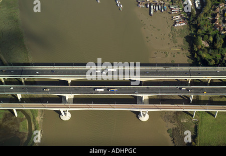 Aerial view of the bridges over the River Medway in Kent near Rochester and Chatham with the new rail bridge and the M2 bridges - Stock Image