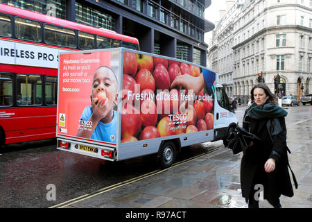 Tesco food delivery van parked in Threadneedle Street in The City of London UK  KATHY DEWITT - Stock Image