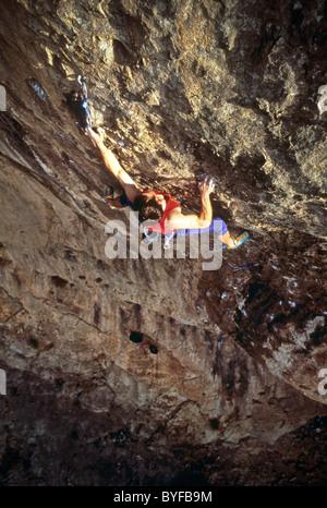 rock climber Virgin River Gorge, Utah, USA - Stock Image