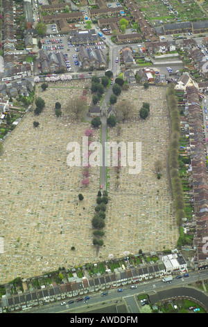 Aerial view of Walthamstow Cemetery in North London, which also has two chapels, a belfry and a Coroner's Court - Stock Image