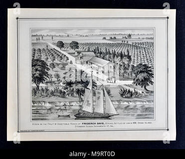 Sacramento County California Farm Views - 1880 - Thompson & West Print - Fruit Farms and Shipping Produce by Boat Down River to Market - Stock Image