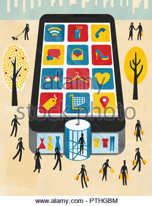 Smart phone as department store for internet shopping and mobile apps - Stock Image