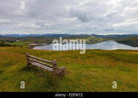 Loch Thurnaig, Loch Ewe, Mountains, Bank, View, Reflection, Scotland - Stock Image