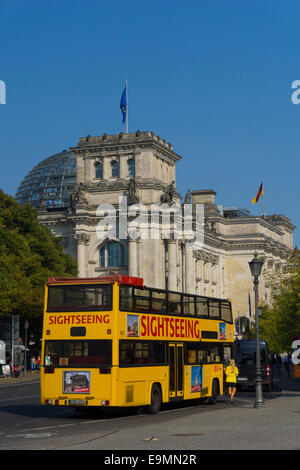 Sightseeing bus, Berlin, Germany, in front of old Parliament building, The Reichstag, - Stock Image