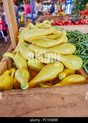 Yellow squash, green snap beans and other fresh vegetables on display for sale in a roadside farm or farmers market in rural Alabama USA. - Stock Image