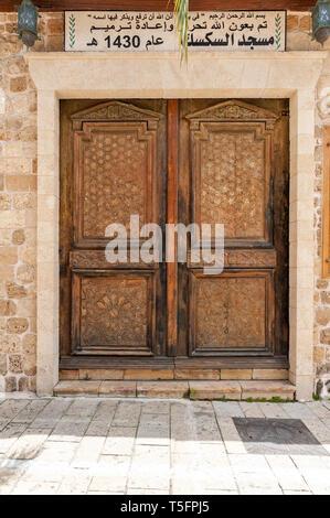 Israel, Tel Aviv-Yafo - 24 April 2019: Shuk hapishpeshim flea market - Al Siksik Mosque - Stock Image