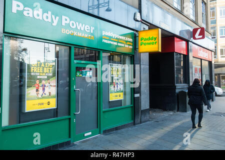 City centre gambling shops, bookmakers, thriving in a poor economy. Bradford, West Yorkshire, UK - Stock Image