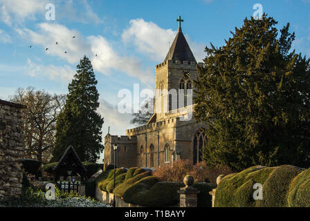 The parish church of All Saints in the village of Turvey, Bedfordshire, UK; a medieval church largely rebuilt in Victorian times. - Stock Image