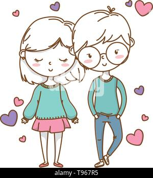 Romantic love couple cute stylish outfit glasses skirt heart vector illustration graphic design - Stock Image