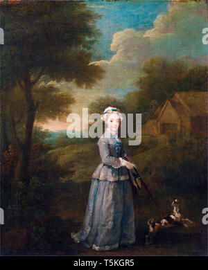 William Hogarth, Miss Wood, portrait painting, c. 1730 - Stock Image