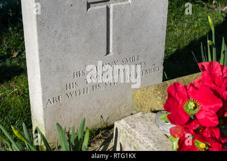Inscription on a WW2 Commonwealth War grave for a member of the Royal Canadian Air Force, Chelveston, Northamptonshire, UK - Stock Image
