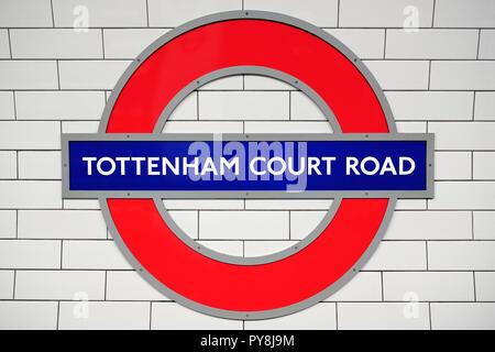 Tottenham Court Road Station Sign, London, United Kingdom - Stock Image