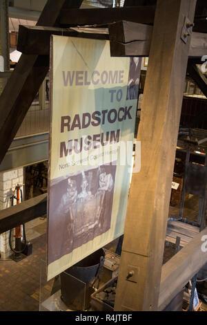 Welcome to Radstock museum, north Somerset coalfield heritage sign, Radstock, Somerset, England, UK - Stock Image