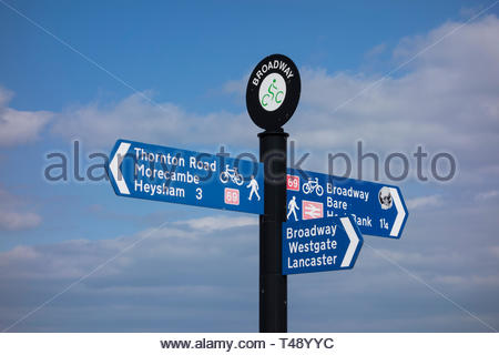 A sign for pedestrians and cyclists on the promenade at  Broadway on Marine Road in Bare, Morecambe, Lancashire, England - Stock Image