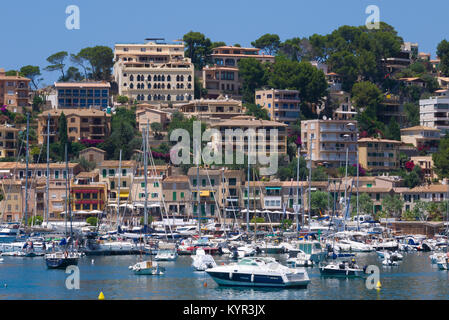 Boats anchored in the port of Soller, a coastal village located on the western side of Mallorca, Spain. - Stock Image