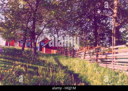 old rural farm house in country surroundings - Stock Image