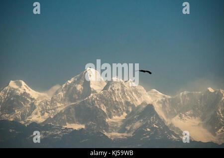 Panorama of the Ganesh Himalaya seen from the hillstation of Nagarkot, east of Kathmandu, Nepal - Stock Image