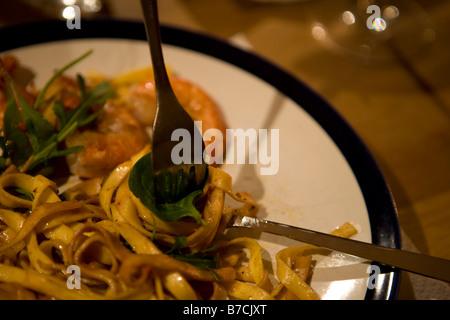 pasta scampi dish - Stock Image