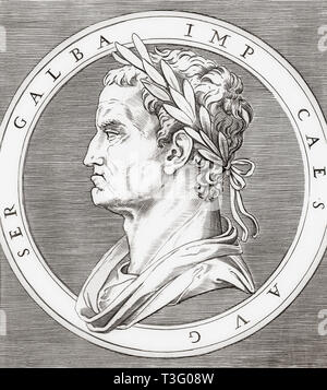 Galba, 3 BC  - 69 BC.   Roman Emperor. - Stock Image