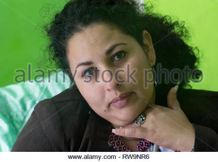Nicaraguan adult woman looking pensive after hearing bad news. - Stock Image