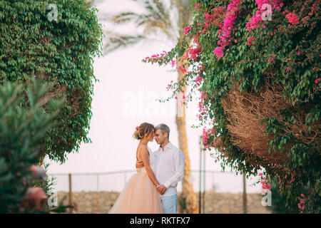 Happy newlyweds stand and hug on background of blooming trees and flowers during the honeymoon in Egypt. - Stock Image